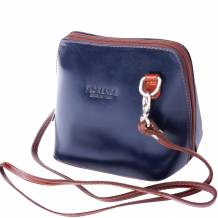 Small shoulder and cross body bag in polished calf-skin leather