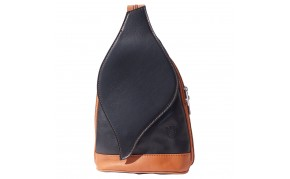 Large backpack purse with leaf-shaped flap
