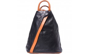 Backpack purse and shoulder bag with many pockets in genuine leather