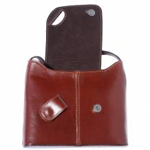 Patent shoulder bag with fold over flap closure and magnetic clasp