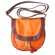 Shoulder bag in soft genuine cow leather