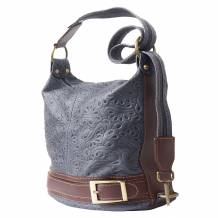 Bucket backpack purse transformable in bucket bag with pattern