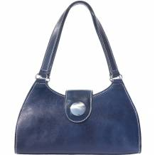 Classic handbag with double handle made of genuine calf leather
