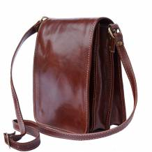 Briefcase with shoulder strap made of genuine calf leather
