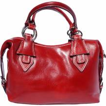 Handbag with double handle made of genuine calf leather