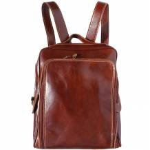 Flat hard cow leather backpack with handle