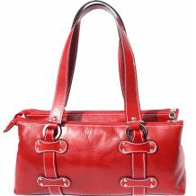Lady genuine calf leather handbag with three compartments