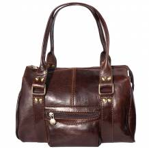 Lady leather handbag with front pocket