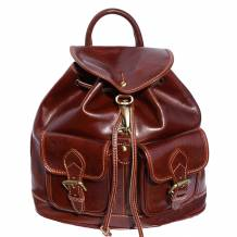 Backpack bag with two large outside pockets made of genuine calf leather