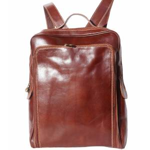 Flat hard cow leather unisex backpack (Big)