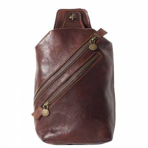 Leather waist bag for mens made in genuine calfskin leather