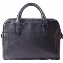 Unisex briefcase in genuine calf natural vintage leather