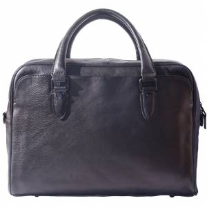 Unisex briefcase in genuine calf natural vintage leather