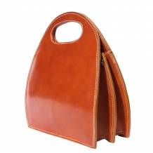 Semi oval bag with built-in handle made of genuine calf leather