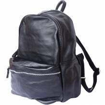 Unisex backpack with genuine cow leather