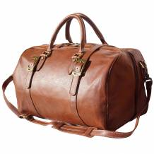Leather travel bag with front straps