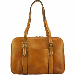 Iéna Shoulder tote in natural cowhide trim