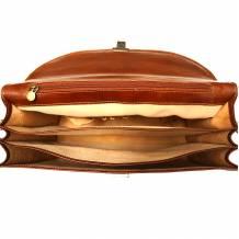 Cartella in cuoio con tre scomparti
