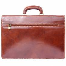 Leather briefcase with two compartments
