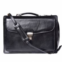 "Leather briefcase ""Business class"" with two compartments"