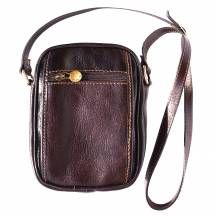 Small travel bag with shoulder strap in genuine cow leather