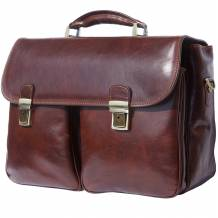 "Leather Business briefcase ""Andrea"" with two wide front pockets"