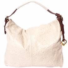 Genuine calf-skin leather shoulder bag with an adjustable handle