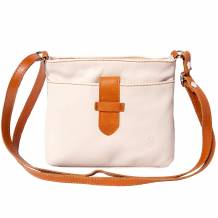 Soft calf leather cross-body bag with pocket on the front side