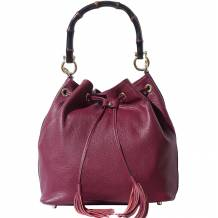 Bucket bag in Genuine calfskin leather and with wooden bamboo handle