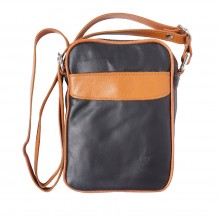 Man's shoulder bag in soft genuine calf-skin leather