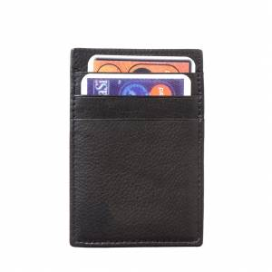 Credit card holder with money clip in soft leather