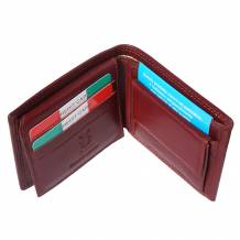Leather wallet with coin pocket for mens